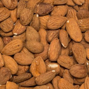 Close up valencia almonds organic
