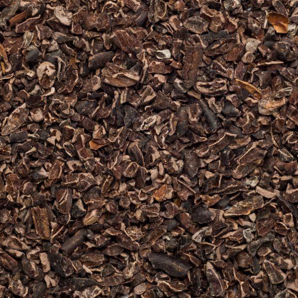 Close up of cocoa nibs raw organic